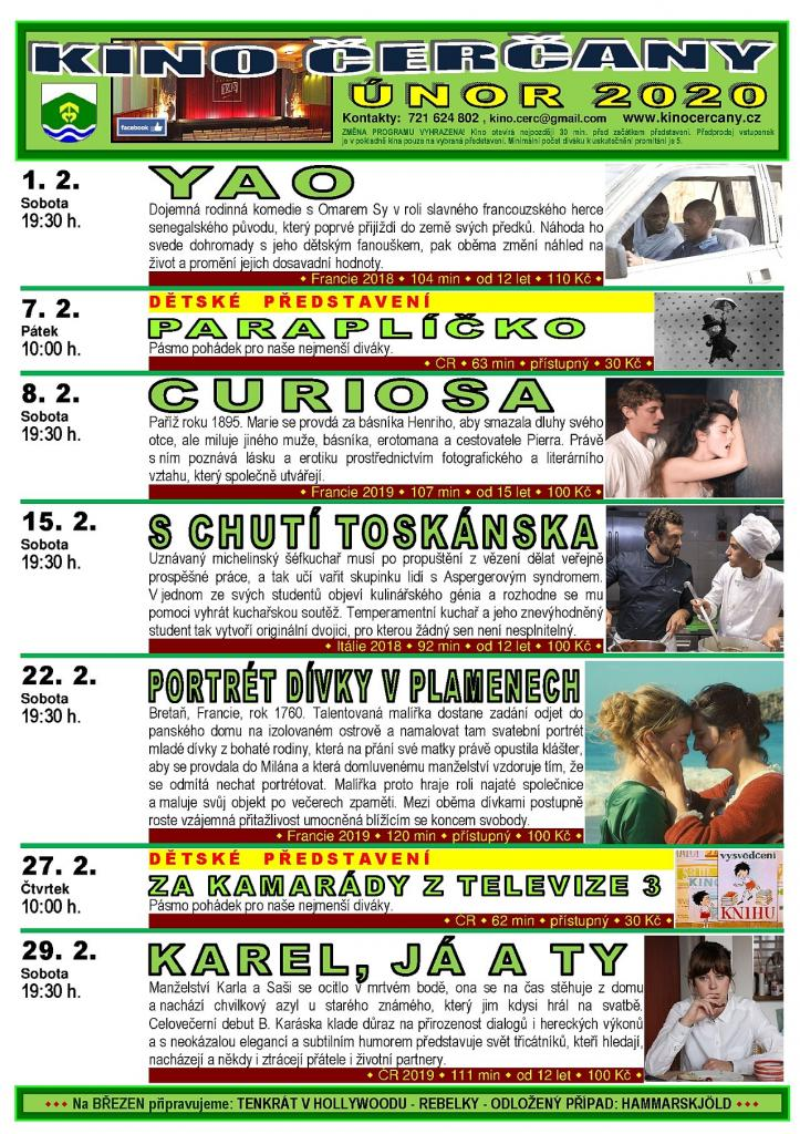 Program kina Čerčany na únor 2020 1